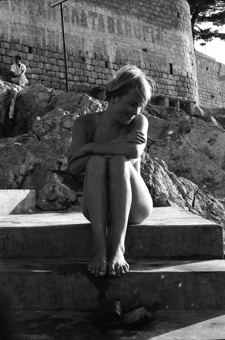 Marianne Ihlen by the shore on Hydra, October 1960. Photo by James BurkeThe LIFE Picture CollectionGetty Images