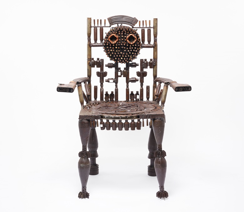 Gonçalo Mabunda, Untitled (throne), 2017. Mixed media. 34 x 74 x 23 in (88 x 118 x 58 cm). Similar to a piece exhibited by Jack Bell Gallery at 1-54 New York, 2018. Photo courtesy Jack Bell Gallery, London