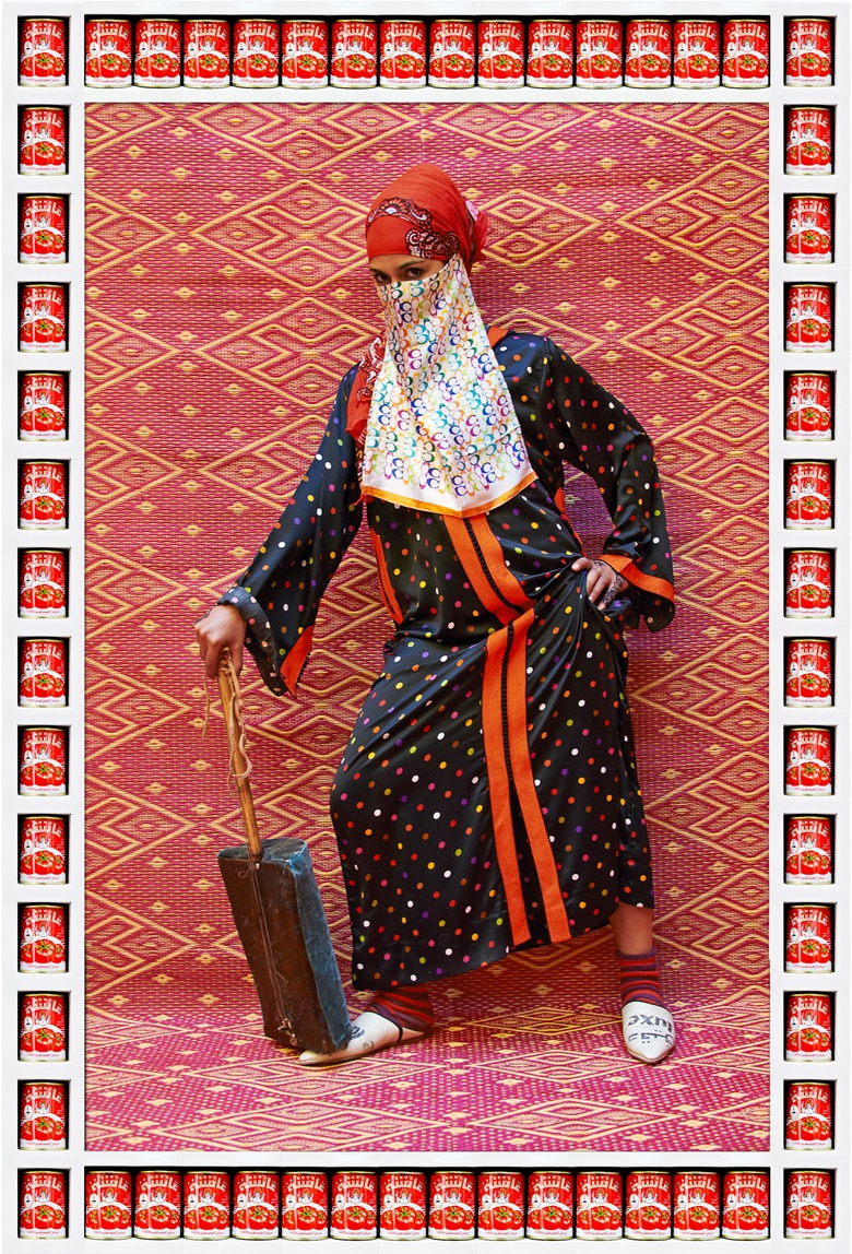 Hassan Hajjaj, Marmouche, 20121433. Metallic Lambda on 3mm dibond in wood sprayed white frame with 'Aicha' tomato tins. 94 x 133 cm. Edition 17. Courtesy the artist