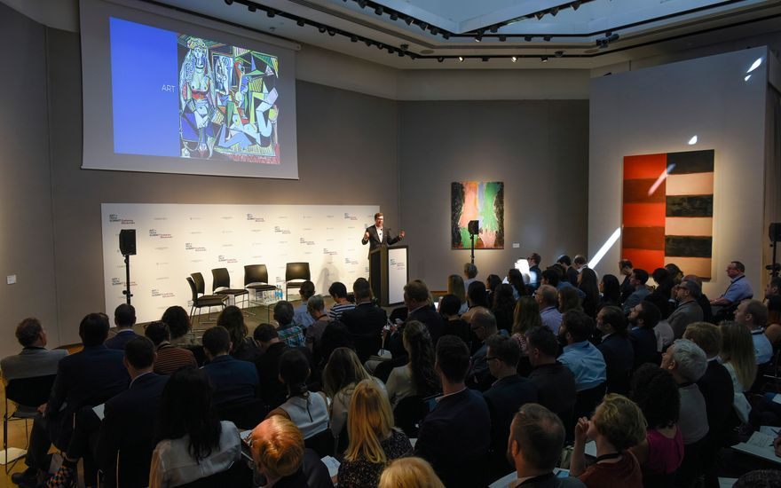 Nicolas Cary, a founding Member of the Board of Commissioners of Blockchain Commission for Sustainable Development, addresses the audience at Christie's London