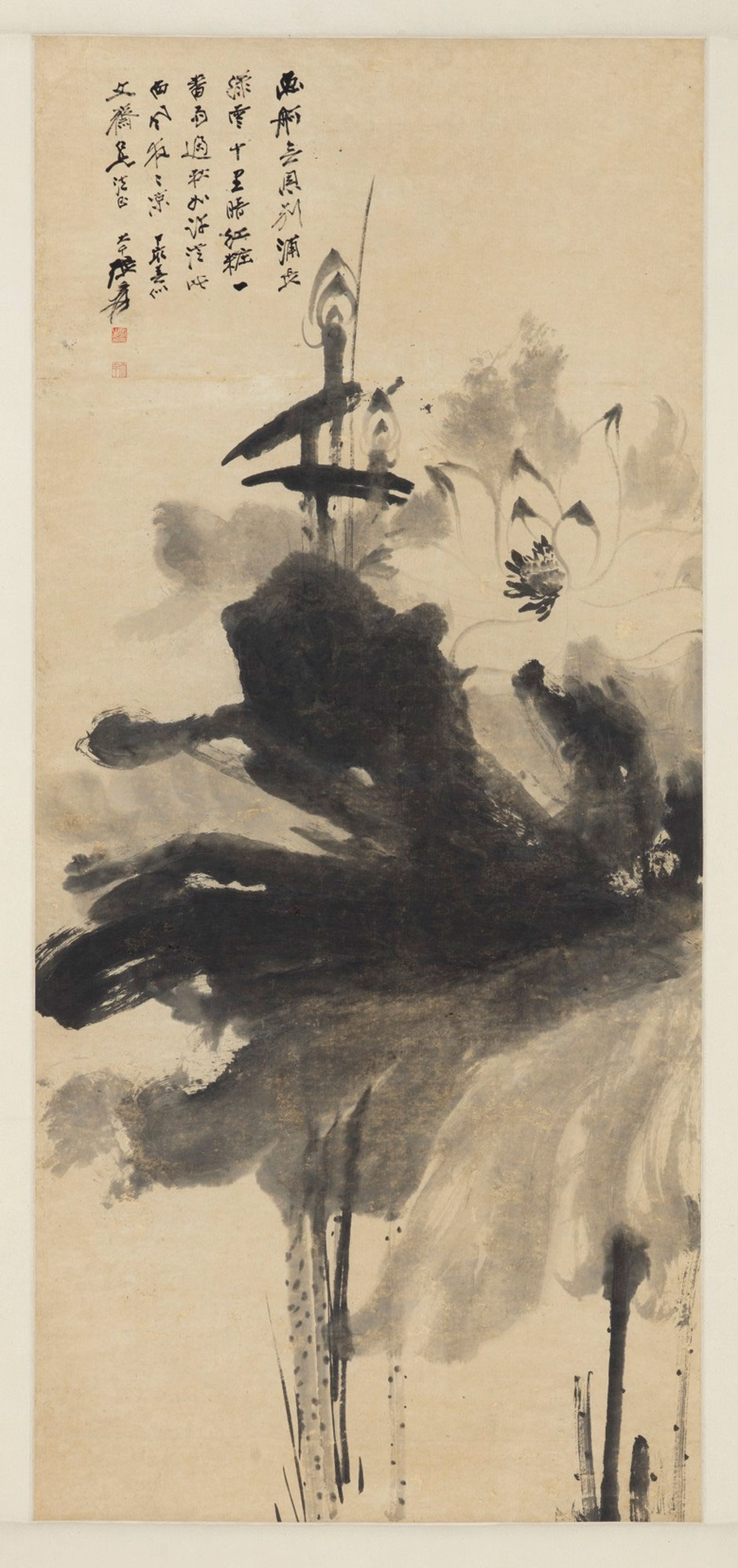 Zhang Daqian (1899-1983), Ink Lotus, 1947. Hanging scroll, ink and colour on paper. 56 x 25⅝ in (142 x 65 cm). Estimate $50,000-70,000. Offered in Fine Chinese Paintings on 11 September at Christie's in New York
