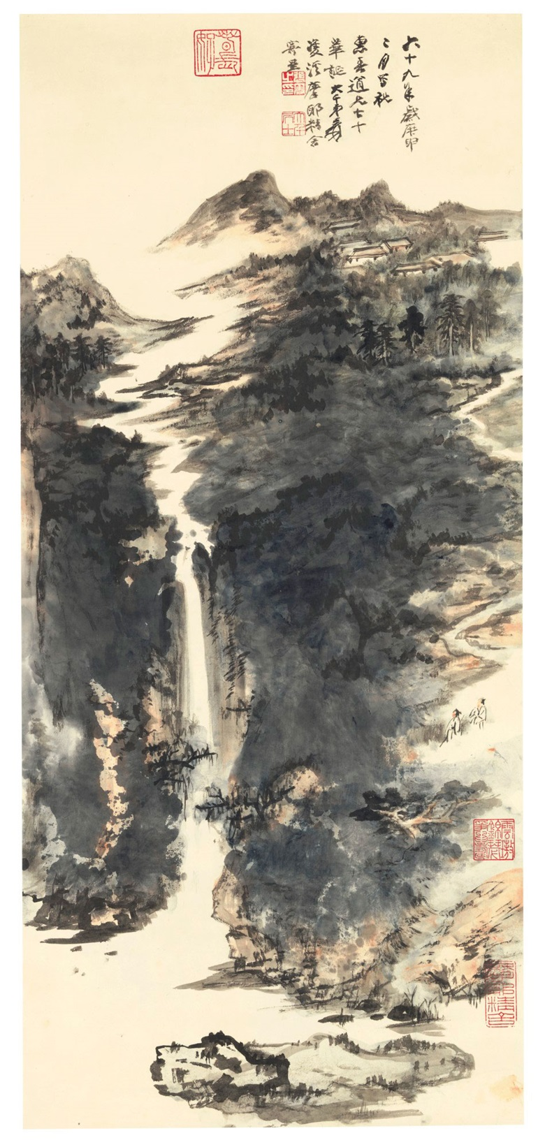 Zhang Daqian (1899-1983), Landscape, 1980. Hanging scroll, ink and colour on paper. 36½ x 16¾ in (92.7 x 42.5 cm). Estimate $100,000-150,000. Offered in Fine Chinese Paintings on 11 September at Christie's in New York