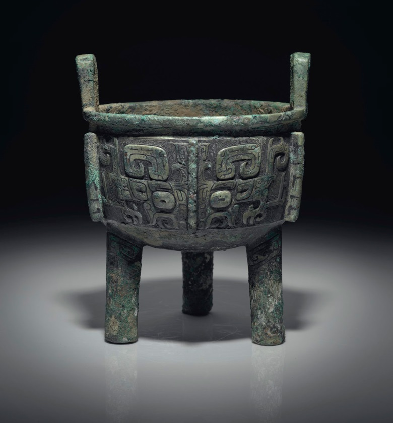 A bronze ritual food vessel, ding, late Shang dynasty, 13th-12th century BC. Offered in Fine Chinese Ceramics and Works of Art on 14 September at Christie's in New York