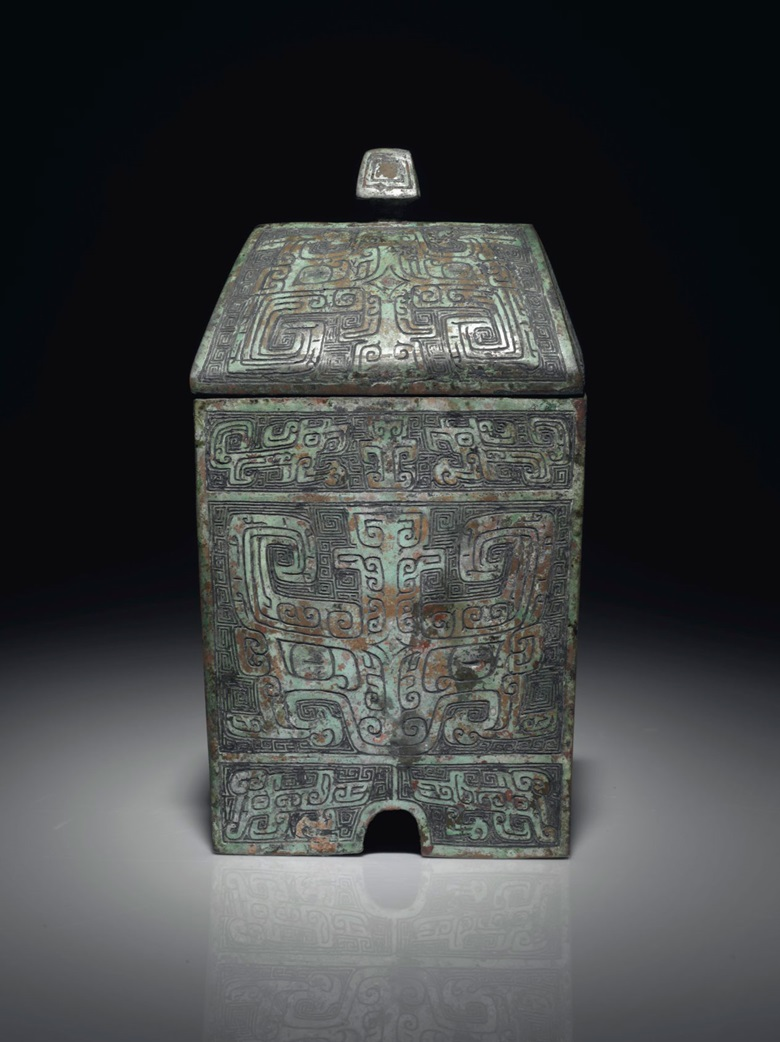 A very rare bronze ritual rectangular wine vessel and cover, fangyi, late Shang dynasty, 13th-11th century BC. Offered in Fine Chinese Ceramics and Works of Art on 14 September at Christie's in New York