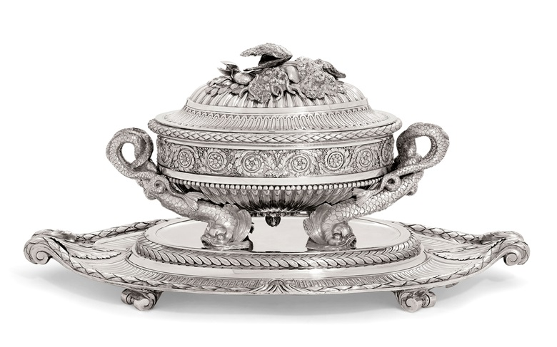 An Austrian silver soup-tureen, cover, stand and liner from the second Sachsen-Teschen service, Mark of Ignaz Joseph Wurth, Vienna, the liner and stand 1780 the tureen and cover 1781. The tureen and stand 12½  in (31.8  cm) high overall. Sold for £446,500 on 1-2 December 2015 at Christie's in London