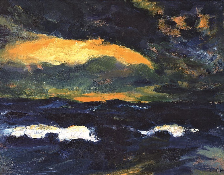 Exhibited at Emil Nolde Colour is Life at the Scottish National Gallery of Modern Art Emil Nolde (1867-1956), Light Breaking Through (Durchbrechendes Licht), 1950. Oil on canvas 68.5 x 88.5 cm © Nolde Stiftung Seebüll