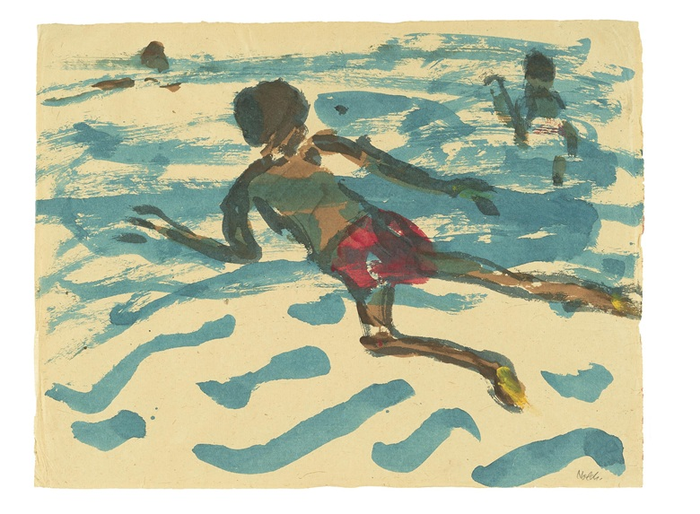 Exhibited at Emil Nolde Colour is Life at the Scottish National Gallery of Modern Art Emil Nolde (1867-1956), Aboriginal Man Swimming (Schwimmender Eingeborener), 1914. Watercolour on paper, 38.3 x 50 cm. © Nolde Stiftung Seebüll