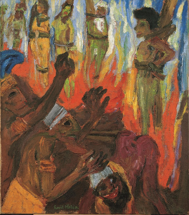 Exhibited at Emil Nolde Colour is Life at the Scottish National Gallery of Modern Art Emil Nolde (1867-1956), Martyrdom III (Martyrium III), 1921. Oil on sackcloth, 121 x 106.5 cm. © Nolde Stiftung Seebüll