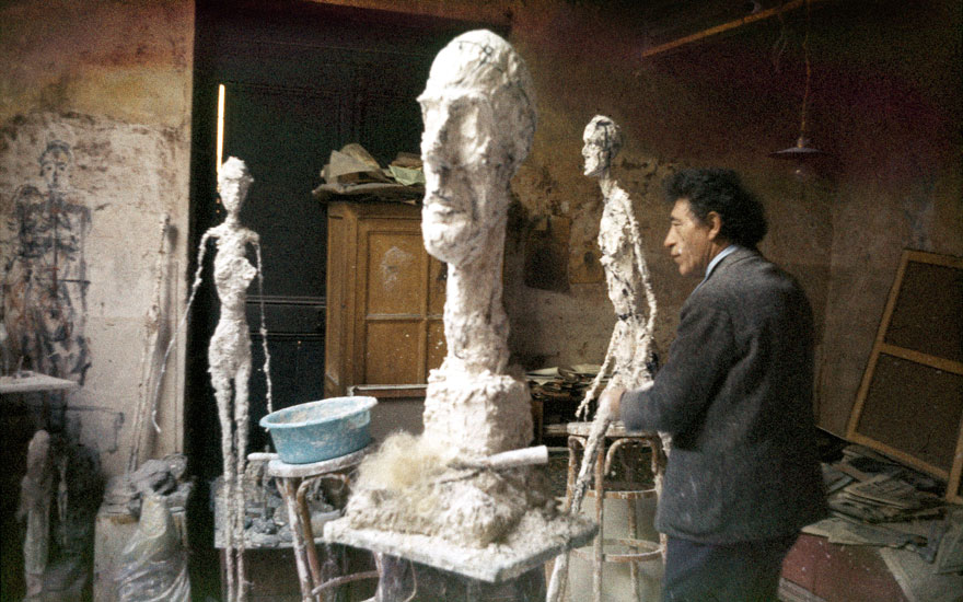 Alberto Giacometti in his studio, circa 1960. Photo Ernst Scheidegger. Giacometti Foundation Archives, Paris © The Estate of Alberto Giacometti (Fondation Annette et Alberto Giacometti, Paris and