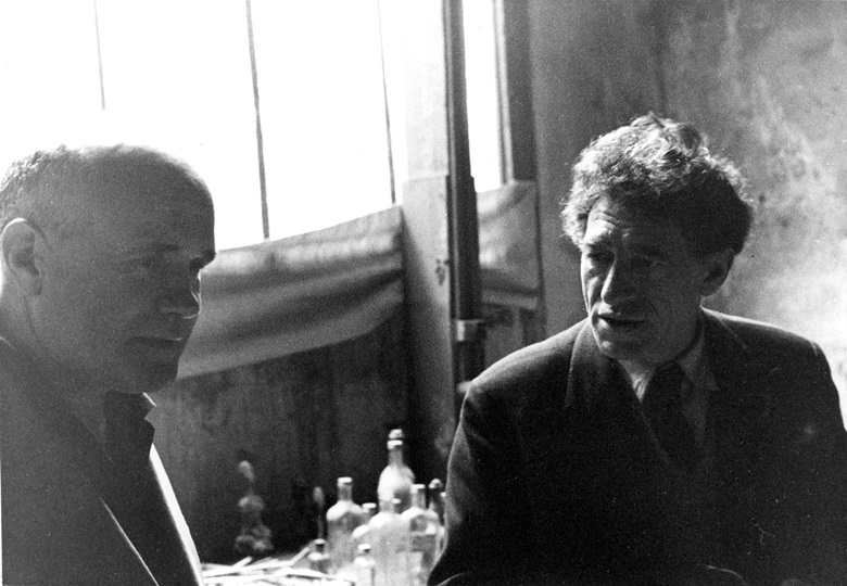 Jean Genet and Alberto Giacometti in Giacometti's studio in 1957. Photo Isaku Yanaihara