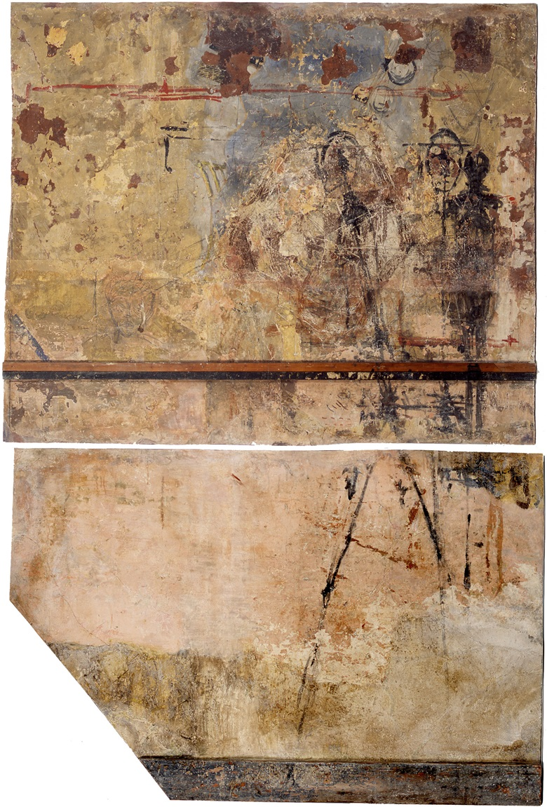 A section of wall from Alberto Giacometti's studio, salvaged under the direction of his widow, Annette. © The Estate of Alberto Giacometti (Fondation Annette et Alberto Giacometti, Paris and ADAGP, Paris) 2018