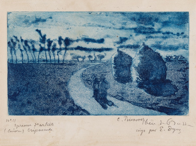 Camille Pissarro, Twilight with Haystacks, 1879. Aquatint with drypoint and etching, printed in Prussian blue on beige laid paper, iiiiii. Plate 4⅛ x 7⅛ in (10.5 x 18.1 cm). Museum of Fine Arts, Boston, Lee M. Friedman Fund, 1983. Photo © 2018 Museum of Fine Arts, Boston