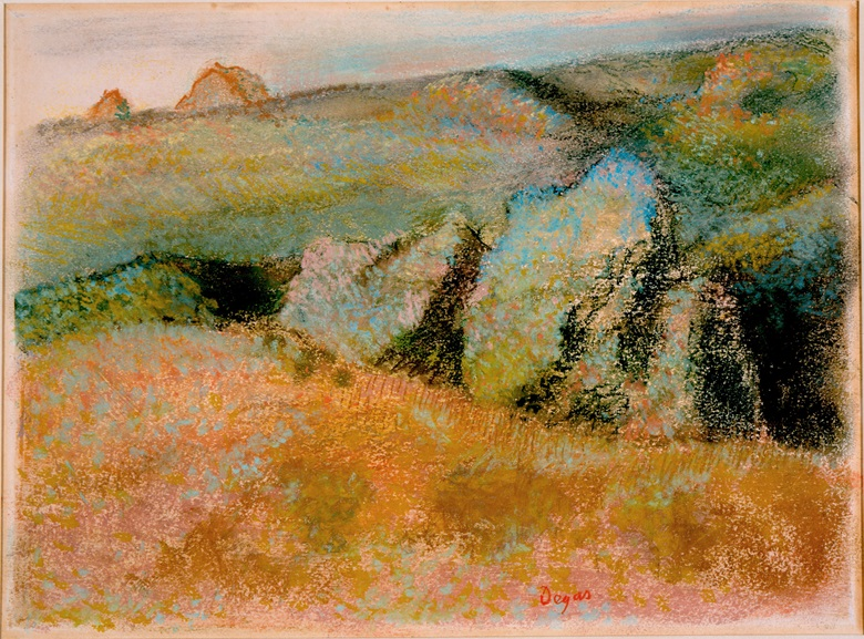 Edgar Degas, Landscape with Rocks, 1892. Pastel over monotype in oil colours on wove paper. Plate 9¾ x 13⅜ in (24.8 x 34 cm). High Museum of Art, Atlanta
