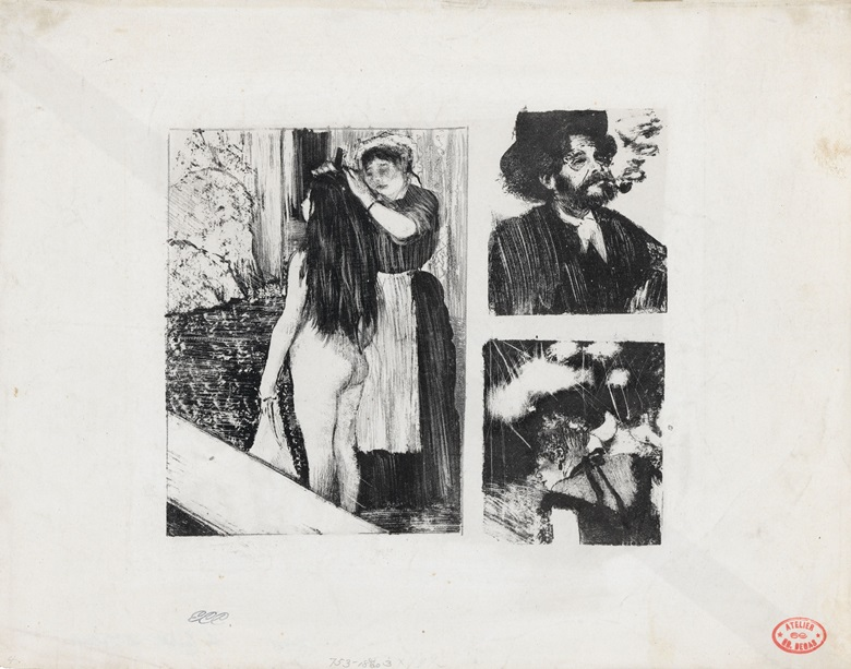 Edgar Degas, Three Subjects La Toilette; Marcellin Desboutin; Café-Concert, 1876-77. Lithograph transferred from three monotypes on paper, iiii. Sheet 10¾ x 13⅝ in (27.3 x 34.6 cm). Mead Art Museum, Amherst College, Massachusetts
