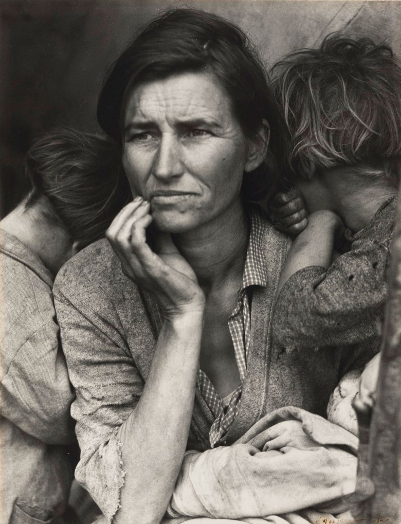 Dorothea Lange (1895-1965), Migrant Mother, Nipomo, California, 1936. Gelatin silver print, flush-mounted on photographic paper, printed 1930s-40s. Imagesheetflush mount 13⅛ x 10⅛ in (33.3 x 25.7 cm). Estimate $100,000-200,000. This lot is offered in An American Journey The Diann G. and Thomas A. Mann Collection of Photographic Masterworks on 4 and 5 October at Christie's in New York