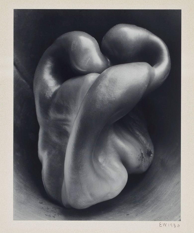 Edward Weston (1886-1958), Pepper No. 30, 1930. Gelatin silver print, mounted on card, printed circa 1941. Imagesheet 9½ x 7½ in (24.2 x 19.1 cm); mount 16½ x 13⅛ in (41.8 x 33.3 cm). Estimate $150,000-250,000. This lot is offered in An American Journey The Diann G. and Thomas A. Mann Collection of Photographic Masterworks on 4 and 5 October at Christies in New York