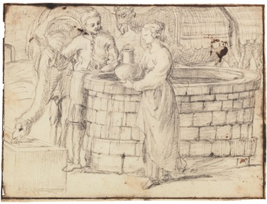 Claude Gellée, called Claude Lorrain (Champagne 1600-1682 Rome), Eliezer and Rebecca at the well. 7⅜ x 9 ¾  in (18.7 x 24.7  cm). Estimate $20,000-30,000. This lot is offered in Property from the Estate of Eugene V. Thaw on 30 October 2018 at Christie's in New York