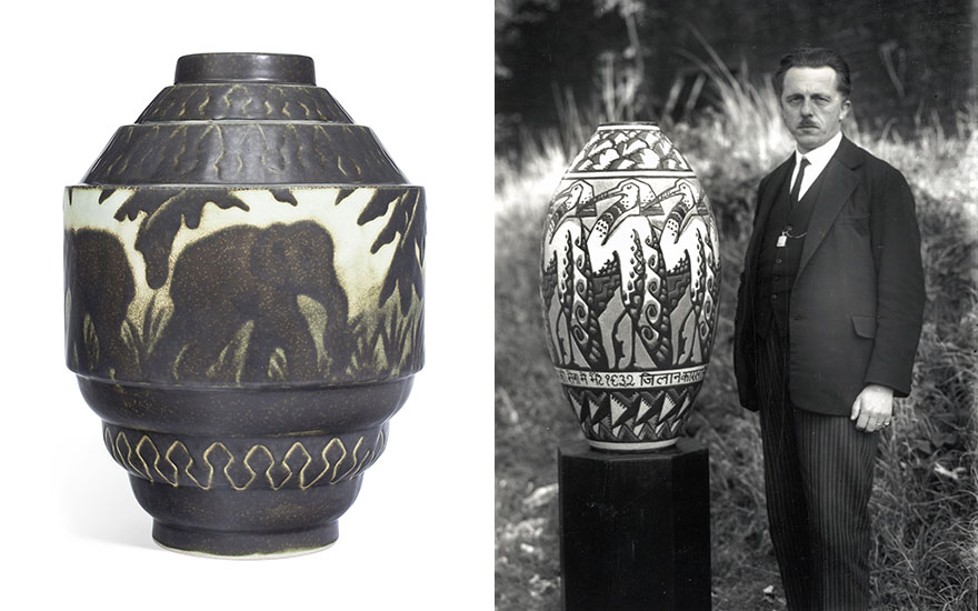 From left Boch Frères Keramis, a vase, 20th century. Estimate                    $1,000-1,500. Offered in The Collection of Melva Bucksbaum Decorative Arts and Design, 16-23 August