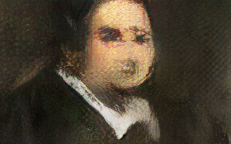 Portrait of Edmond Belamy (detail) created by GAN (Generative Adversarial Network), which will be offered at Christie's on 23-25 October. Image © Obvious