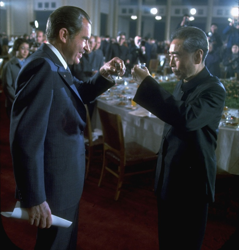 President	Richard	Nixon	and	Chinese	Premier	Zhou	Enlai	toast	each other with Maotai at	a	banquet	in	the	Great	Hall	of	the	People, Beijing, in February 1972. Photo	John	DominisThe	LIFE	Picture	CollectionGetty	Images