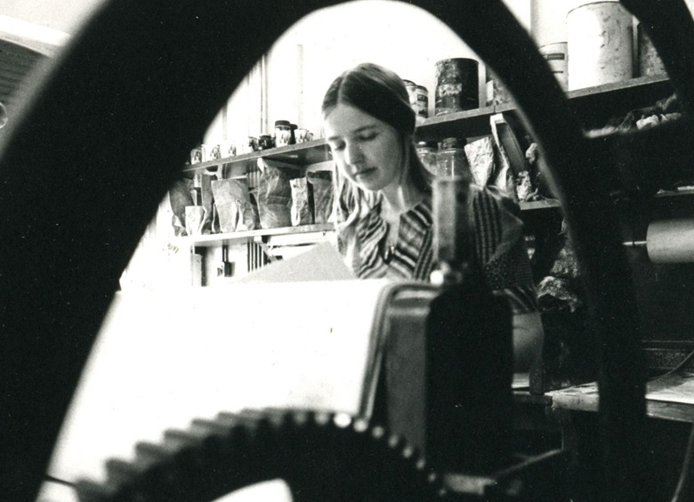 Dorothea Wight in the early days of Studio Prints, which she founded in 1968. Photo Mark and Dorothea Balakjian