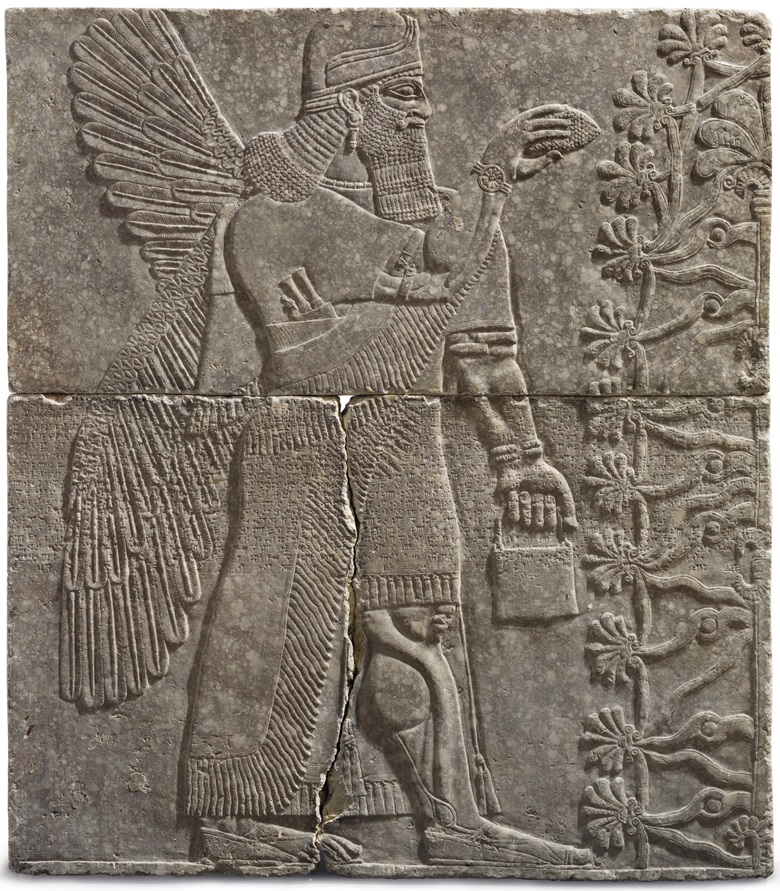 An Assyrian gypsum relief of a Winged Genius. Reign of Ashurnasirpal II, circa 883-859 BC. 7 ft 4 in x 6 ft 5 in (223.5 x 195.5 cm). Sold for $30,968,750 on 31 October 2018 at Christie's in New York