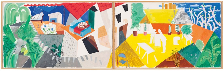 David Hockney (b. 1937), A Visit with Mo and Lisa, Echo Park, 1984. Signed with the artists initials and dated 'D.H. 84' (lower right of the right sheet) diptych. Gouache, wax crayon and graphite on paper. Overall 60 ¾ x 202 in (154.3 x 513 cm). Offered in the Post-War and Contemporary Art Evening Sale in November 2018 at Christie's in New York