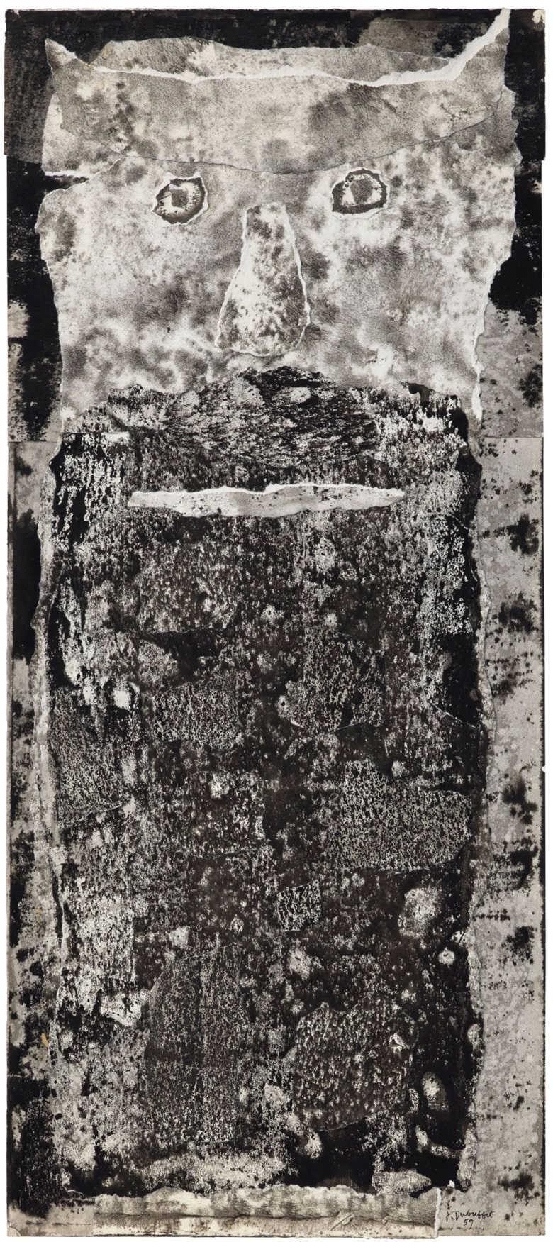 Jean Dubuffet (1901-1985), Barbe du Seigneur Mongol, 1959. Signed and dated J. Dubuffet 59 (lower right); titled and dated again 'Barbe du seigneur mongol juin 59'(on the reverse). India ink and paper collage on paper. 30 x 13 18 in (76.2 x 33.3 cm). Offered in the Post-War and Contemporary Art Evening Sale in November 2018 at Christie's in New York