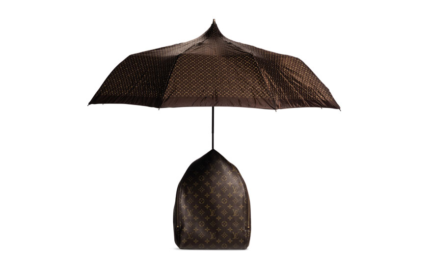 A limited-edition monogram Centenaire Sybilla umbrella backpack, Louis Vuitton by Sybilla, 1996. 20 w x 30 h x 12 d cm. Estimate $1,500-2,000. Offered in What Goes Around Comes Around 25th Anniversary