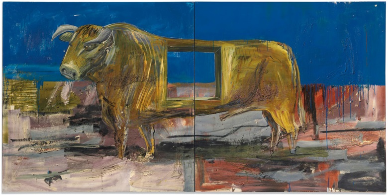 Albert Oehlen (b. 1954), Stier mit loch (Bull with hole), executed in 1986. Oil and resin on canvas in two parts. Overall 73⅞ x 148 ¼ in (187.6 x 376.6 cm). Estimate £800,000-1,200,000. This lot is offered in Post War and Contemporary Art Evening Auction on 4 October 2018 at Christie's in London