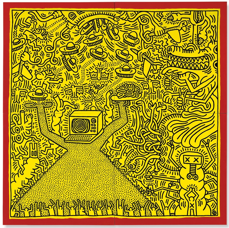 Keith Haring (1958-1990), Untitled, executed in April 1984. Acrylic on canvas in four parts. Overall 120 x 120 in (304.8 x 304.8 cm). Estimate £3,000,000-5,000,000. This lot is offered in Post War and Contemporary Art Evening Auction on 4 October 2018 at Christie's in London