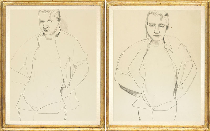 Two Lucian Freud (1922-2011) drawings of Francis Bacon, 1951. Conté crayon on paper. 21½ x 16¾ in (54.7 x 43 cm). Estimate £500,000-700,000 each. Offered in the Post
