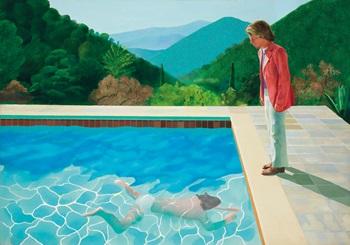 大衛·霍克尼《藝術家肖像(泳池與兩個人像)》 auction at Christies