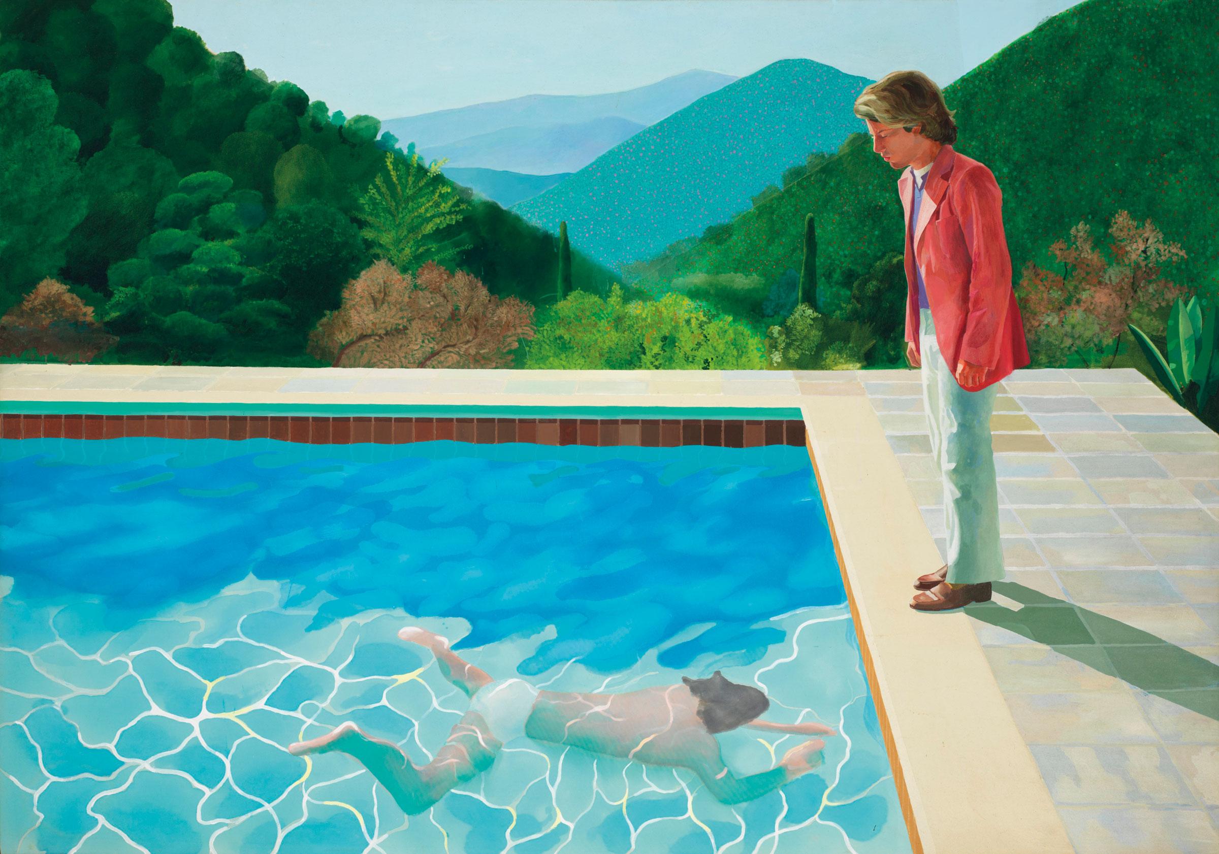 大衛·霍克尼《藝術家肖像(泳池與兩個人像)》