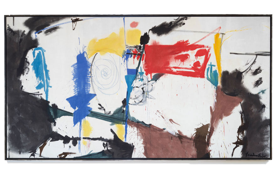 Helen Frankenthaler (1928-2011), Red Square, 1959. Oil and crayon on sized, primed canvas. 68 x 126 ¼ in (172.7 x 320.7 cm). Estimate $3,000,000-5,000,000. Offered in November in the Post-War &