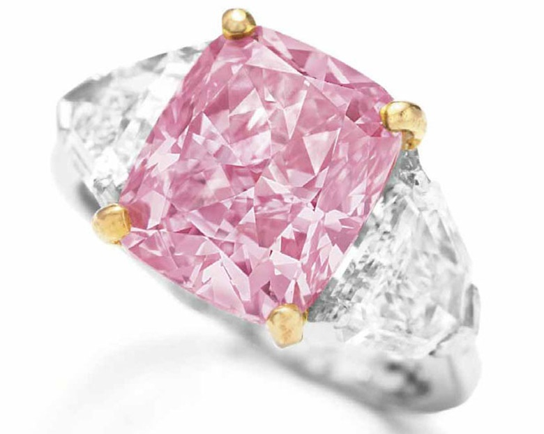 The Vivid Pink, an exquisite coloured diamond and diamond ring, by Graff. Sold for HK$83,540,000 on 1 December 2009 at Christie's in Hong Kong