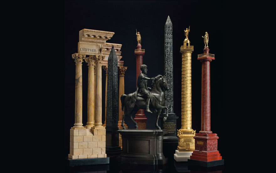 A selection of architectural models collected by Grand Tourists during the 18th and 19th centuries