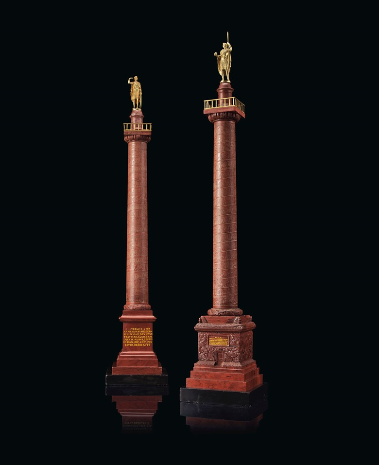 A pair of Italian gilt-bronze mounted and Rosso Antico marble models of Trajan's Column and Marcus Aurelius Column, Rome, circa 1820. 30 in (76.2 cm) high. Estimate $15,000-25,000. Offered in The Collector English and European 18th and 19th Century Furniture, Ceramics, Silver & Works of Art on 23 October at Christie's in New York