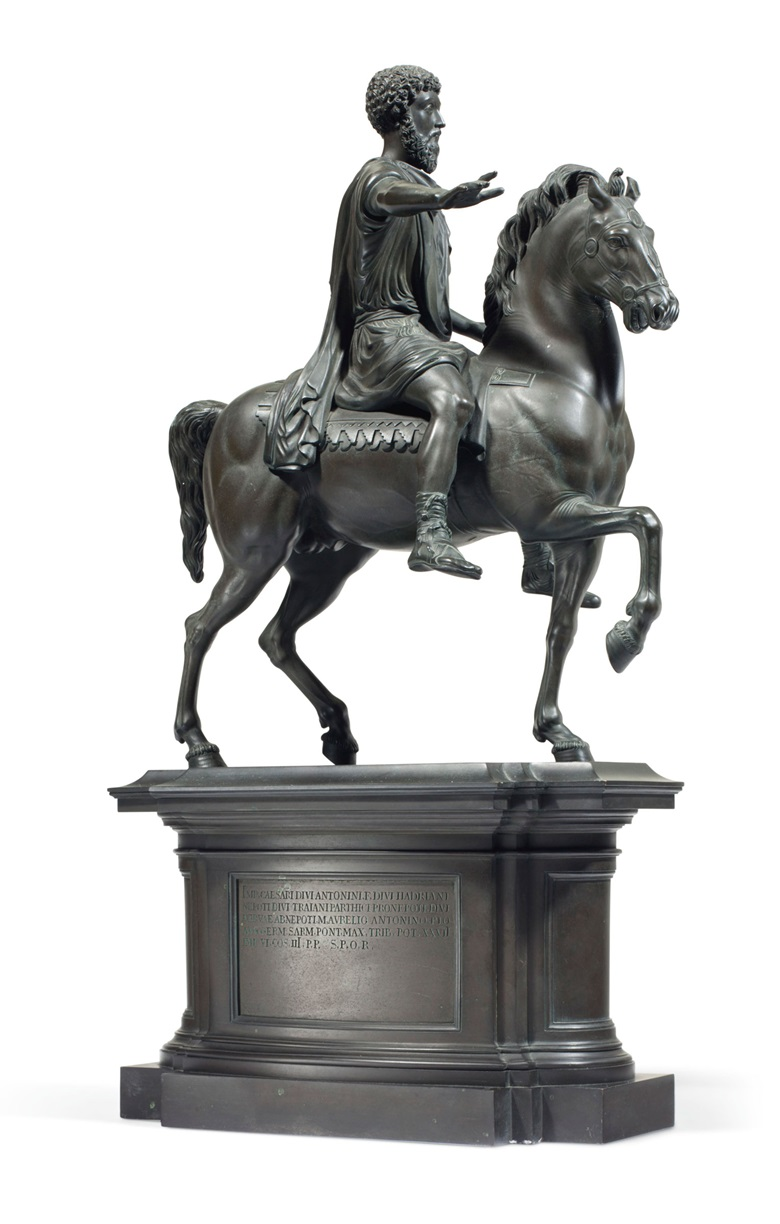 An Italian painted-bronze equestrian statue of Marcus Aurelius, circa 1830, attributed to Wilhelm Hopfgarten and Benjamin Jollage, Rome. 23¼ in (59 cm) high, 11¾ in (29.8 cm) wide, 5¾ in (14.6 cm) deep. Estimate $8,000-12,000. Offered in The Collector English and European 18th and 19th Century Furniture, Ceramics, Silver & Works of Art on 23 October at Christie's in
