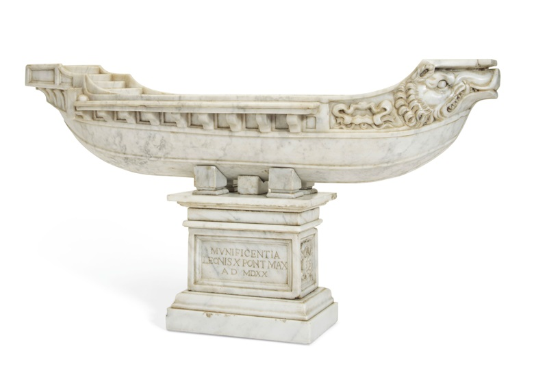 An Italian marble model of the Navicella, Rome, 19th century. 17 in (43.2 cm) high, 29½ in (74.9 cm) wide. Estimate $6,000-9,000. Offered in The Collector English and European 18th and 19th Century Furniture, Ceramics, Silver & Works of Art on 23 October at Christie's in New York