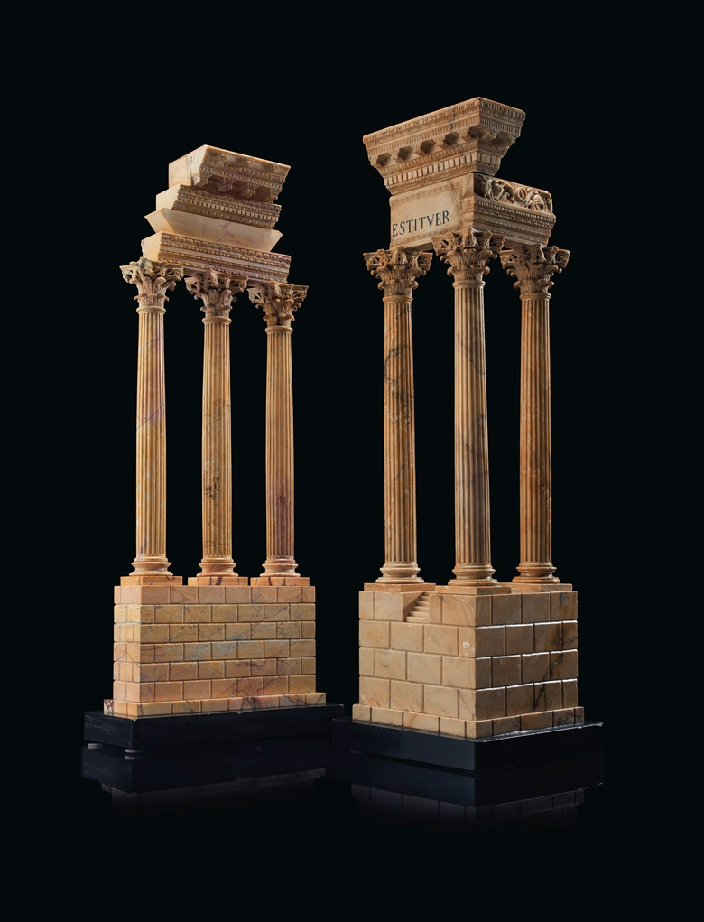 An Italian Giallo Antico model of the Temple of Castor and Pollux and a model of the Temple of Vespasian, Rome, circa 1850. 30¾ in (78.1 cm) high, 10 in (25.4 cm) wide, 9¾ in (24.7 cm) deep. Estimate $15,000-20,000. Offered in The Collector English and European 18th and 19th Century Furniture, Ceramics, Silver & Works of Art on 23 October at Christie's in New York