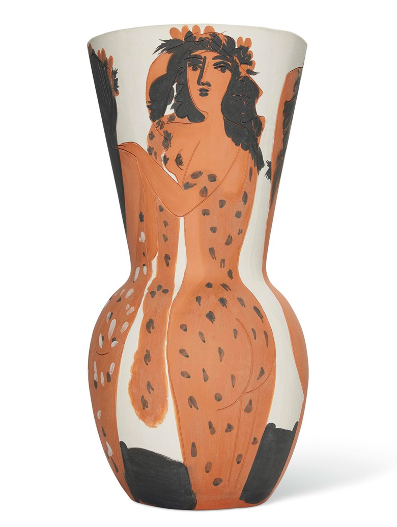 Pablo Picasso (1881-1973), Grand vase aux femmes voilées, conceived in 1950 and executed in a numbered edition of 25. Terracotta vase painted with white, red and black engobe. Height 26in (66cm). Estimate £400,000-600,000. Offered in UnBreakable on 2 October at Christie's London