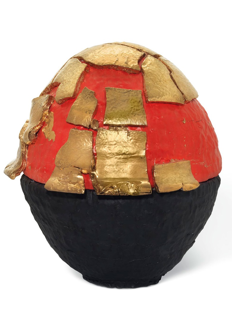 Takuro Kuwata (b. 1981), Red Black-Slipped Gold Kairagi Shino Egg, 2010. Porcelain. 25⅝ x 25¼ x23⅝ in (65 x 64 x 60 cm). Estimate £12,000-18,000. Offered in UnBreakable on 2 October at Christie's London