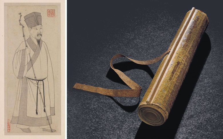 A portrait of Su Shi, left, and the handscroll offered at Christie's in November, which contains one of a tiny number of his extant paintings