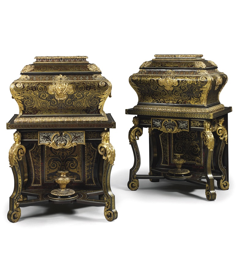 A pair of Louis XIV ormolu-mounted Boulle marquetry coffres en tombeau (coffers-on-stands), By Andre-Charles Boulle, circa 1688. 54½  in (139  cm) high; 36  in (92  cm) wide; 26¼  in (67  cm) deep 	 (2). Sold for £2,617,250 on 9 July 2009 at Christie's in London
