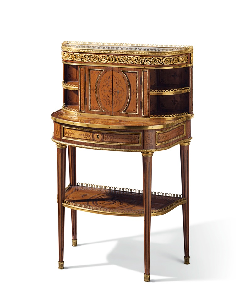 A Louis XVI ormolu-mounted bois citronnier, tulipwood and amaranth bonheur du jour, by Roger Vandercruse, circa 1780. Estimate $60,000-80,000. Offered in A Love Affair with France The Collection of Elizabeth Stafford on 1 November at Christies in New York