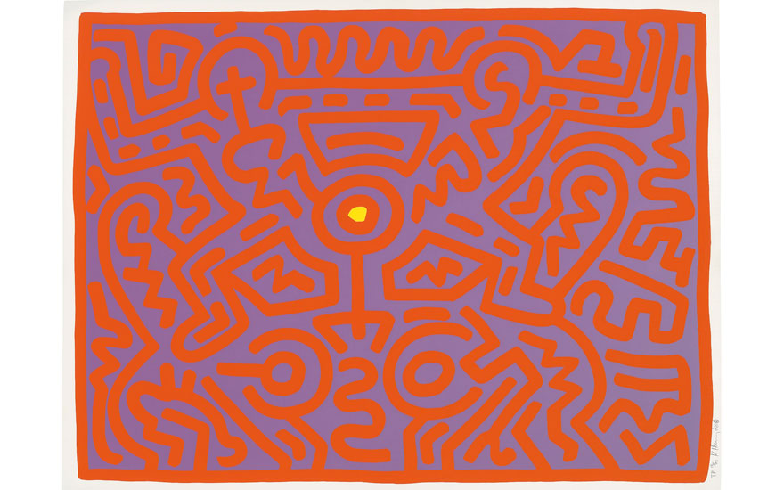 Keith Haring (1958-1990), One Plate, from Growing, image 725 x 980 mm., sheet 760 x 1025 mm. Image 725 x 980  mm, Sheet 760 x 1025  mm. Estimate £15,000-20,000. Offered in Prints and Multiples