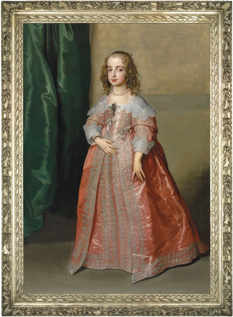 Anthony van Dyck (1599-1641), Portrait of Princess Mary (1631-1660), daughter of King Charles I of England, full-length, in a pink dress decorated with silver embroidery and ribbons, 1641. Oil on canvas. Price realised £5,858,750 on 6 December 2018 at Christie's in London