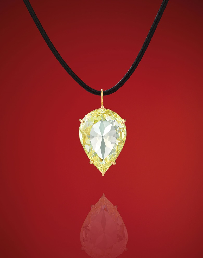 The 24.04-carat, Fancy YellowVS2 Golconda Moon of Baroda diamond. Estimate HK$4,000,000–6,000,000. Offered in Magnificent Jewels on 27 November at Christies in Hong Kong