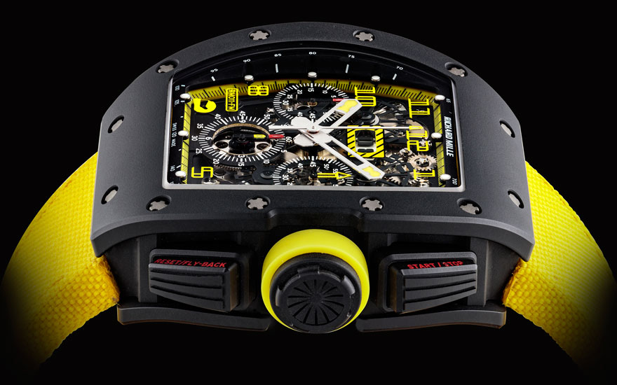 Detail of a Richard Mille, titanium limited-edition tonneau-shaped automatic skeletonised flyback chronograph wristwatch with annual calendar, Grand Prix Brasil, Felipe Massa Model, no. 0010, Ref.